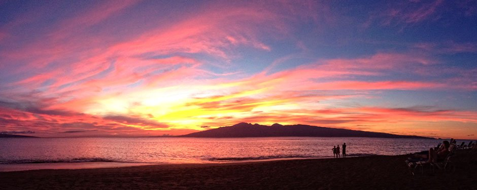 Sunset at Kahana Beach at our Maui Condo Rentals