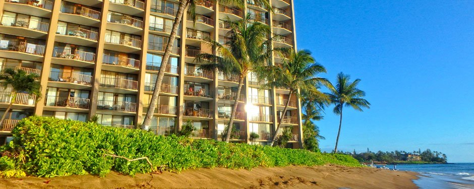 Valley Isle Resort view from Kahana Beach at our Maui Condo Rentals