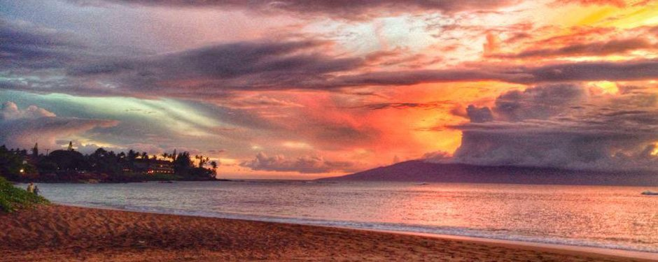 Sunset on Kahana Beach at the Valley Isle Resort Studio
