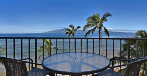 patio table overlooking beach, palm trees and ocean