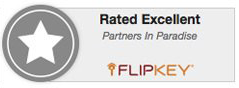Flip key badge - Partners in Paradise - Rated Excellent